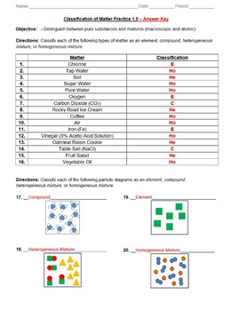 Practice - Classification of Matter Worksheet - Answer Key