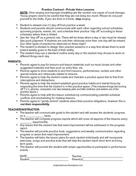 Practice Contract for Private Voice Students