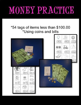 Practice Counting Money Bills & Coins Price Tags