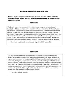 Practice DBQ Exam AP World History - 1800's Child Labor Britain & Russia