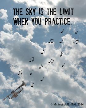 Practice Encouragement Poster with Trumpet