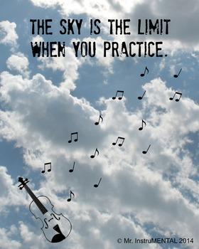 Practice Encouragement Poster with Violin