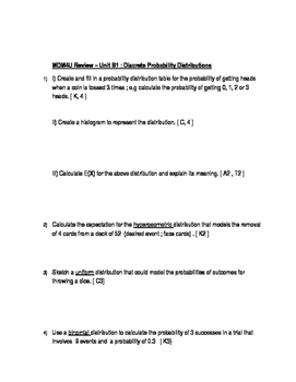 Practice Exam MDM4U Units A and B Probability, C and D Stats