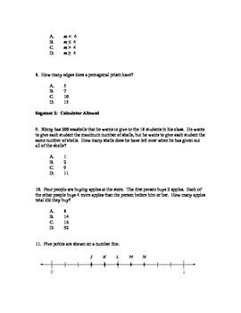 Practice Exam for 5th Grade Math, Minnesota Comprehensive Assessments (MCA)