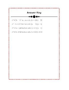 Practice Factoring Trinomials - FREE Download