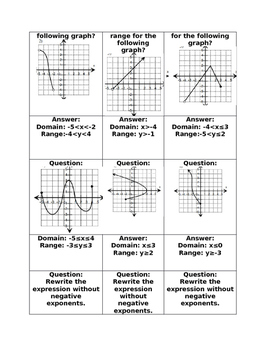 Practice-Functions, Simplifying Expressions with Exponents, Domain and Range