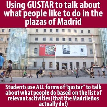 Spanish 1 & 2 - Practice GUSTAR with Spanish Plazas!