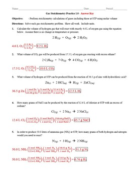 Practice Gas Stoichiometry Worksheet 1 0 Answer Key By The Chem Teacher