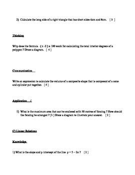 Practice Grade 9 MPM1D/F Exam