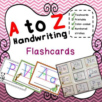 Practice Handwriting A to Z Alphabet Flashcards - Perfect on the wall or table