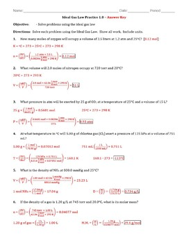 Practice - Ideal Gas Law Worksheet 1.0 - Answer Key
