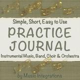 Practice Journal- Instrumental Music, Band, Orchestra & Choir