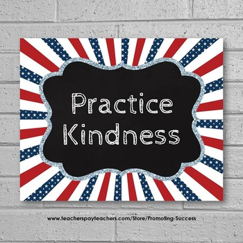 Poster Practice Kindness Quote Stars Red White and Blue Classroom Decor Poster