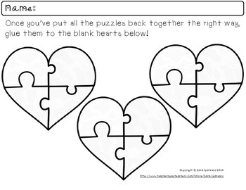 Practice Phonics Letter Blends With Heart-Shaped Puzzles