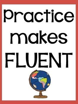 """Practice Makes Fluent"" poster"