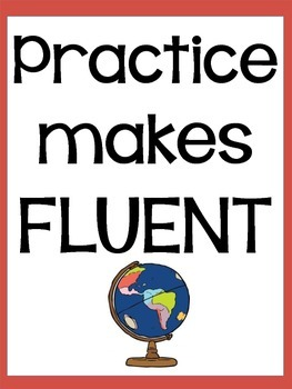 """Practice Makes Fluent"" poster"