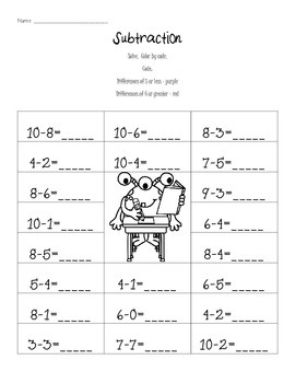 Practice Makes Perfect - Addition & Subtraction to 10 - Printables w/ Monsters