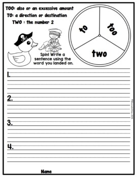 Practice Makes Perfect: Two, To, and Too Homophone Activities and Worksheets