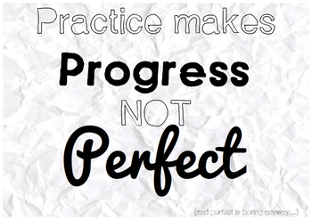 Practice Makes Progress Not Perfect - Classroom Poster