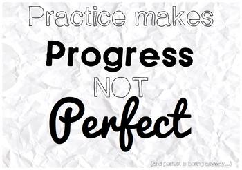Practice Makes Progress Not Perfect - Classroom Poster