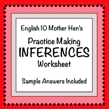 Practice Making Inferences Worksheet By English 10 Mother Hen Tpt