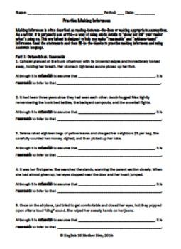 Practice Making Inferences (Worksheet)