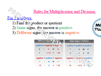 Practice Multipling & Dividing Integers