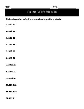 Practice - Multiplying Using Partial Products