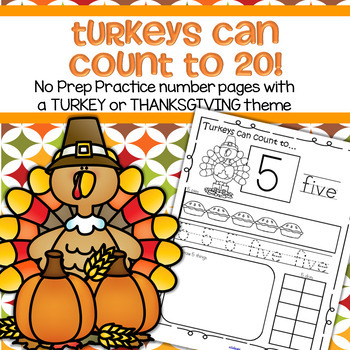 THANKSGIVING Number Practice Printables - Recognition Tracing Counting 1-20
