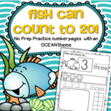 OCEAN Number Practice Printables - Recognition, Tracing, Counting 1-20