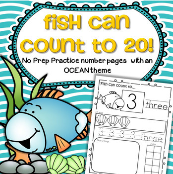 OCEAN Number Practice Printables - Recognition, Tracing, C