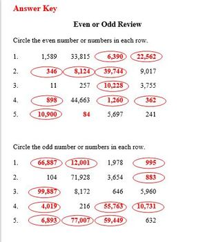 Practice Packet on Even and Odd Numbers