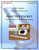NGSS Regents Chemistry Practice Packet - Unit 1: Matter & Measurement