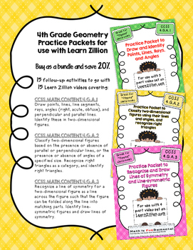 Practice Packet for Use with Learn Zillion Grade 4 Geometry CCSS 4.G.2