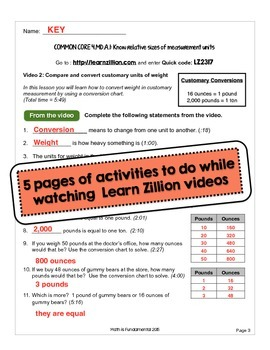 Practice Packet for Use with Learn Zillion Grade 4 Measurement 4.MD.A.1