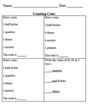 Practice Packet on Counting Coins