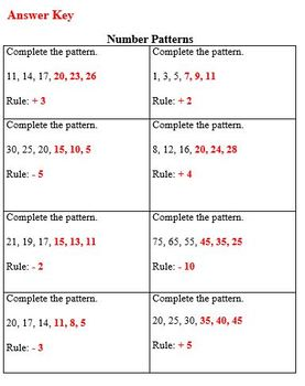 Practice Packet on Number Patterns