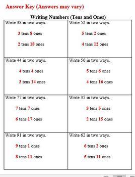 Practice Packet on Writing Numbers (tens and ones)