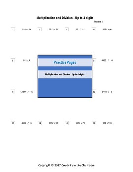 Practice Pages - Multiplication and Division - Up to 4 Digits