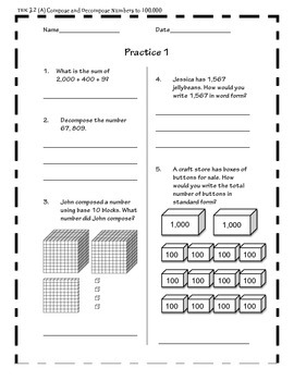 Practice Pages- Place Value- Compose and Decompose to 100,000