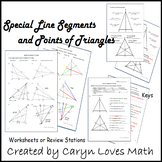 Special Lines Segments and Points of Triangles Review~Practice Pages