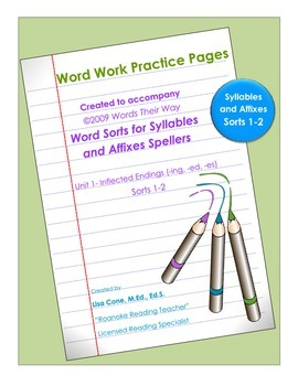 Practice Pages for Words Their Way Syllables and Affixes Sorts 1-2