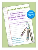 Practice Pages for Words Their Way Syllables and Affixes S