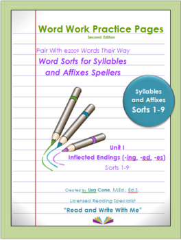 Word Work Practice Pages Words Their Way Syllable & Affixes(Juncture) Sorts 1-9