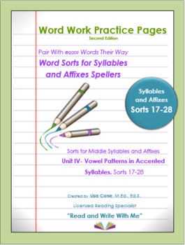 Word Work Practice Pages Words Their Way Syllable & Affixes(Juncture) Sorts17-28