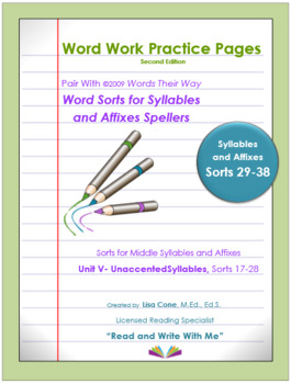 Word Work Practice Pages Words Their Way Syllable & Affixes(Juncture) Sorts29-38