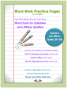 Word Work Practice Pages Words Their Way Syllable & Affixes(Juncture) Sorts39-56