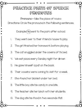 Practice Parts of Speech - Pronouns