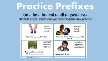 Prefix Practice Cards  (im-  in-  pre-  re-  un-  mis-  dis-)