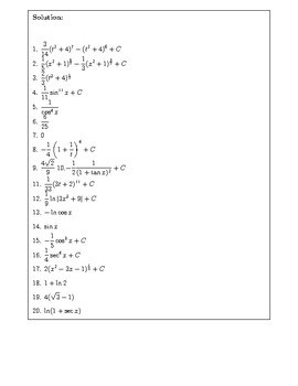 Practice Problems on Integration by Substitution